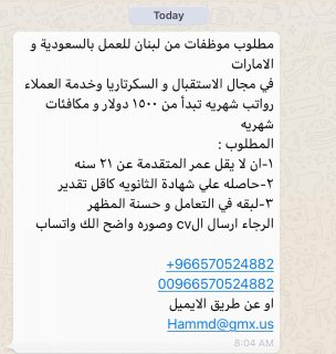 مطلوب موظفات للعمل خارج لبنان لدي شركه خاصه بالسعوديه و الامارات